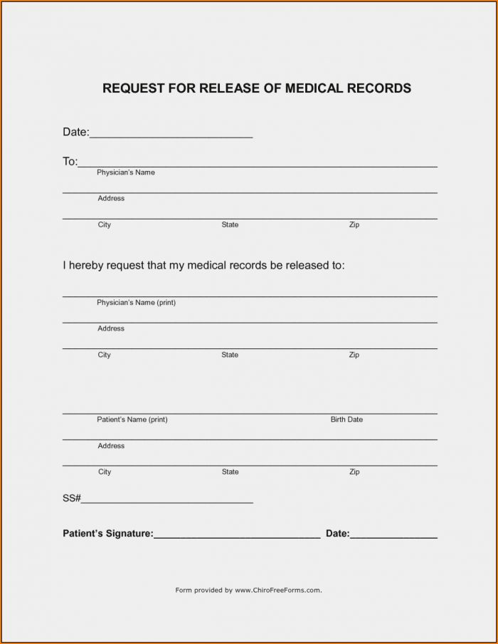 Free Generic Medical Release Form