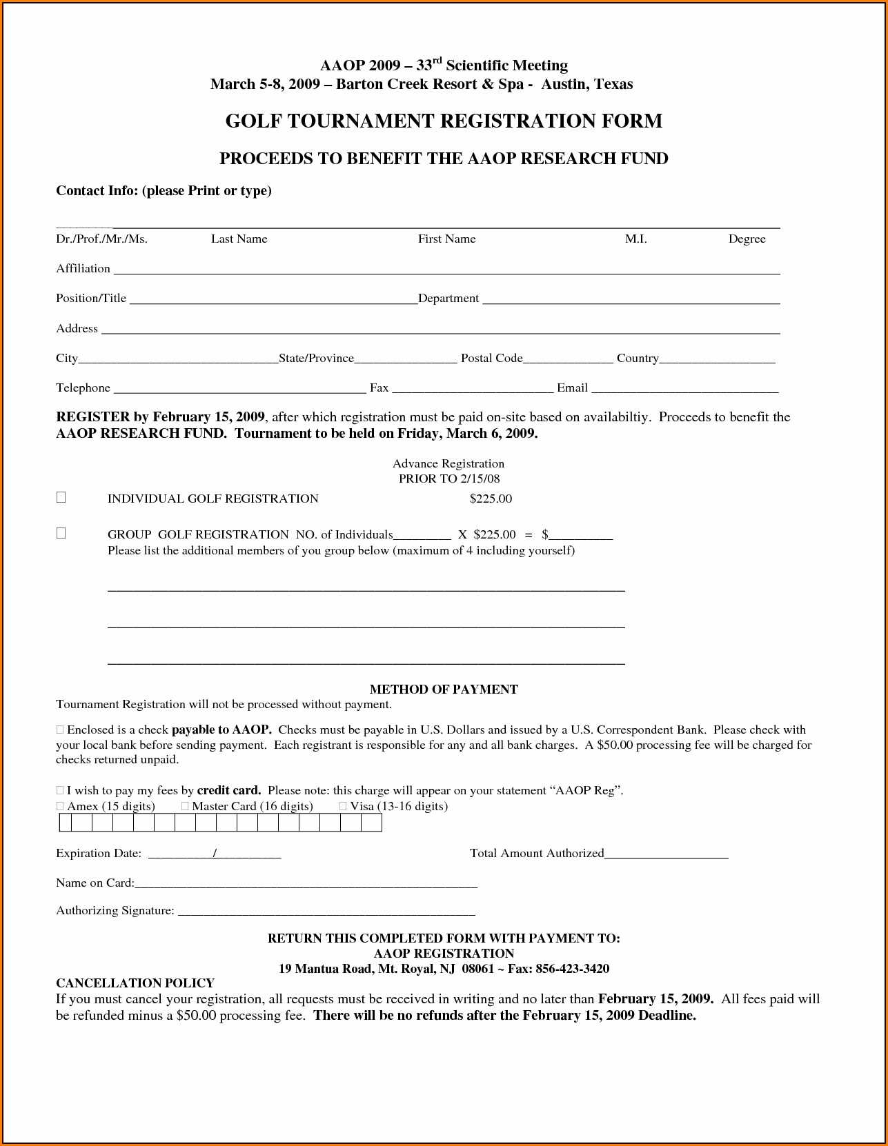 Free Golf Tournament Registration Form Template