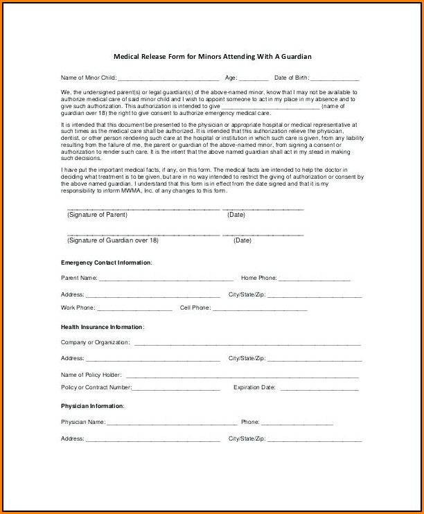 Free Medical Release Form For Minor
