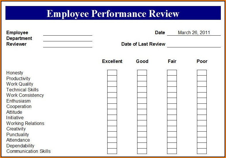 Free Printable Employee Performance Evaluation Forms
