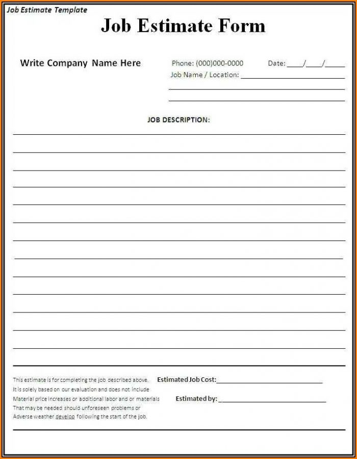 Free Printable Estimate Forms Contractors