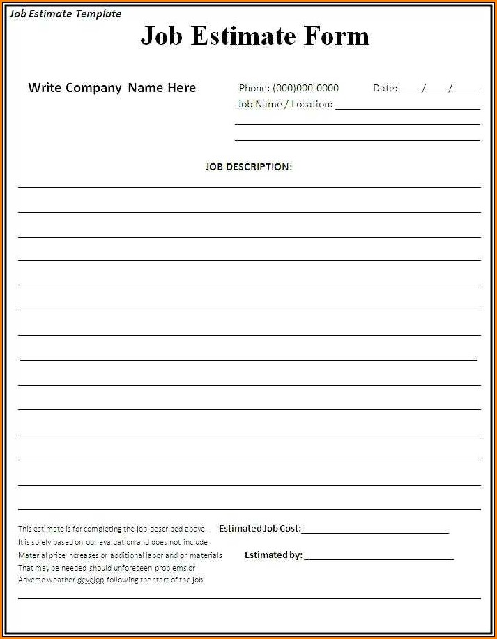 Free Printable Estimate Forms Contractors Form Resume
