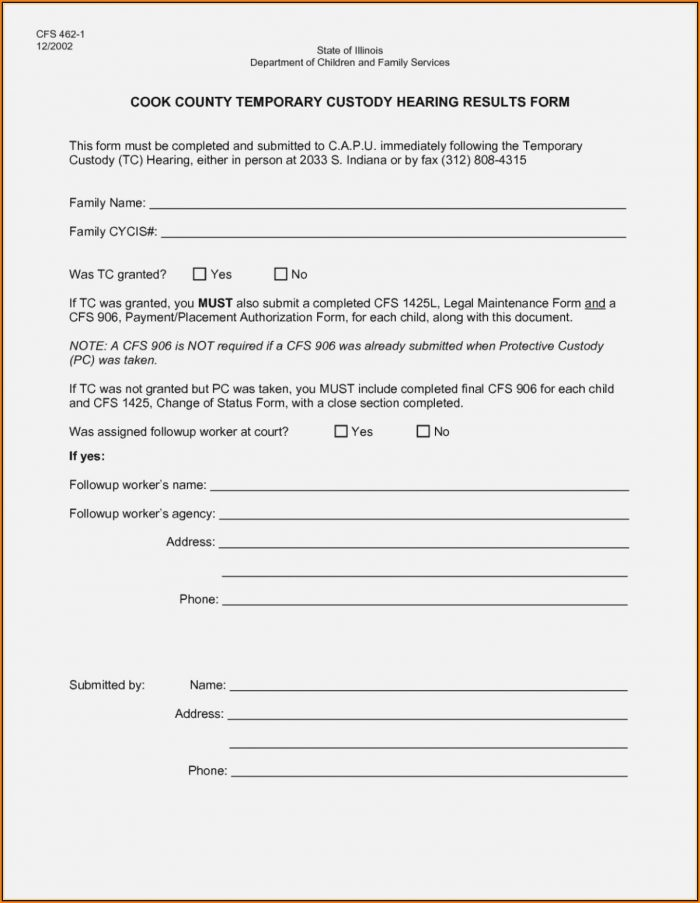 Free Printable Temporary Guardianship Form
