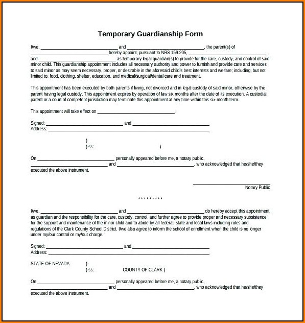 free printable temporary guardianship form download form resume