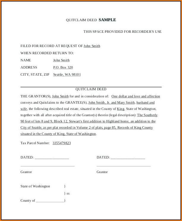Free Quitclaim Deed Form Indiana
