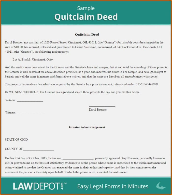 Free Quitclaim Deed Form Texas