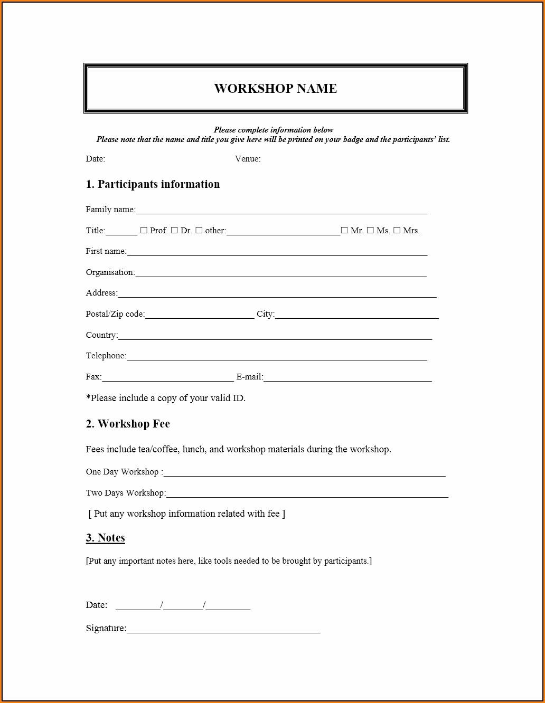 Free Registration Form Template