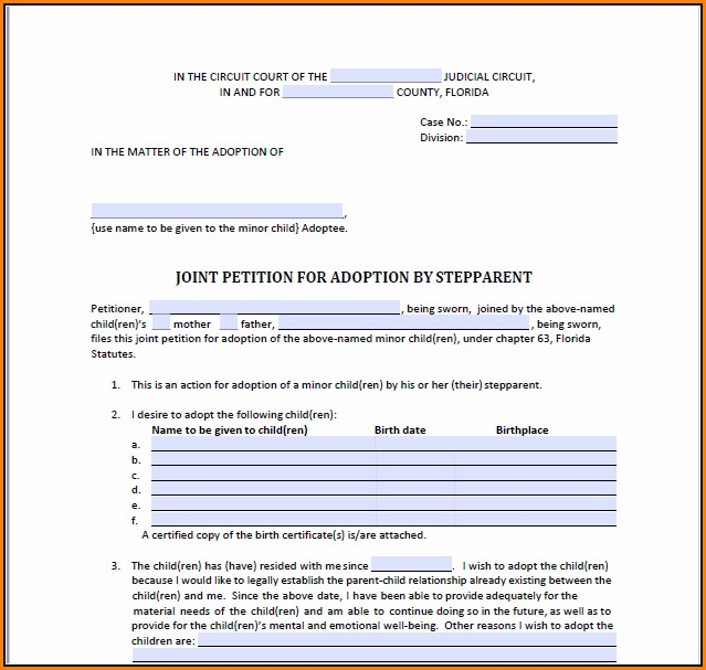 Free Stepparent Adoption Forms