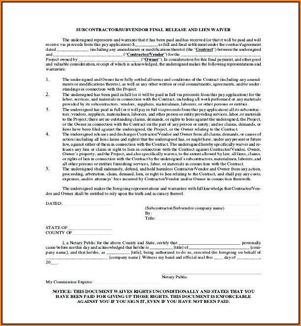 Free Subcontractor Lien Waiver Form