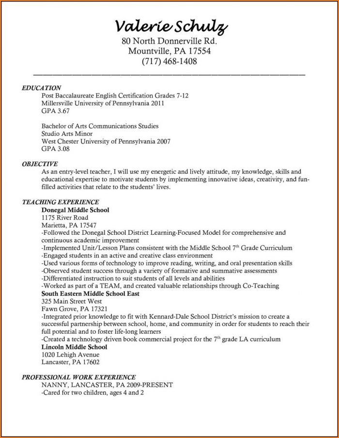 Free Teaching Resume Templates Microsoft Word