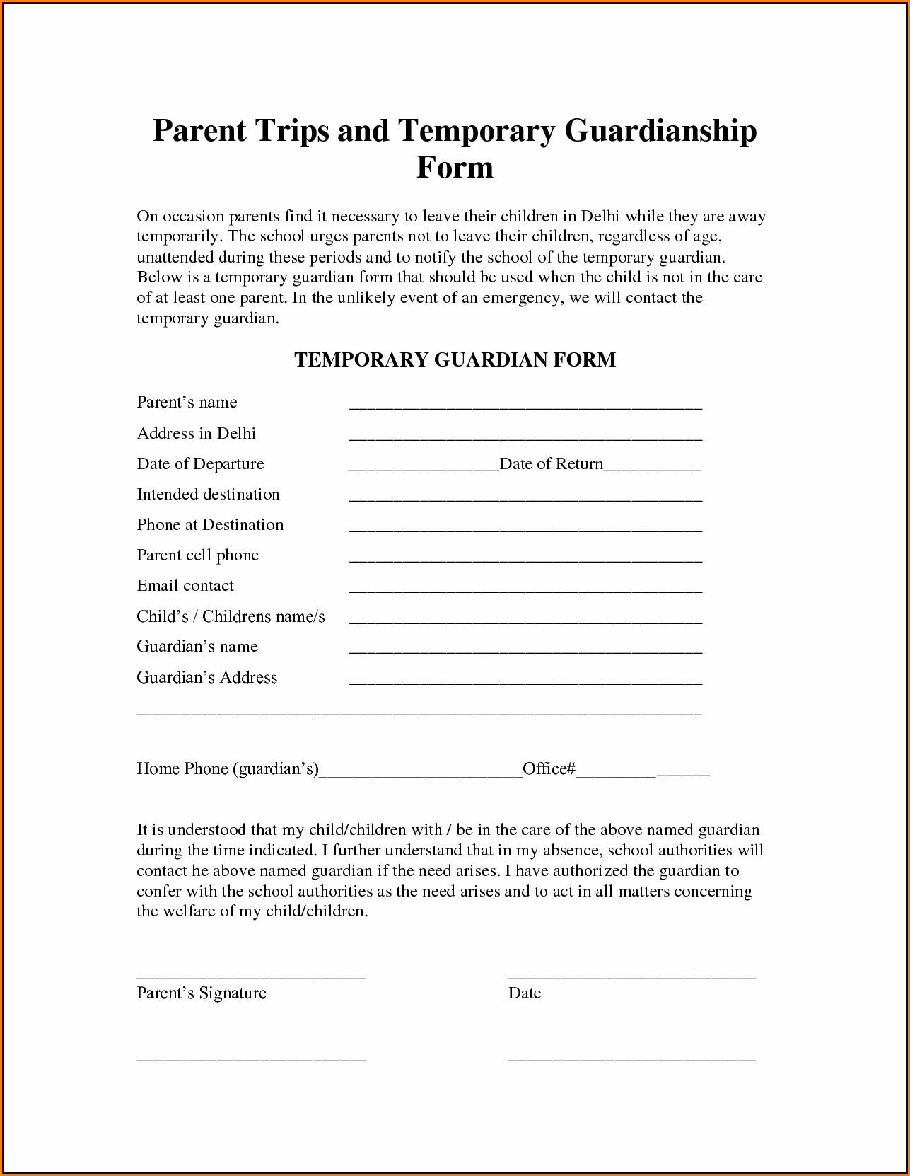 Free Temporary Guardianship Form Florida