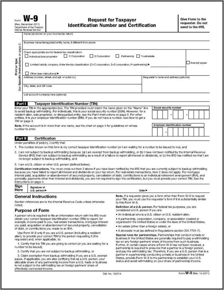 Free W9 Form Download