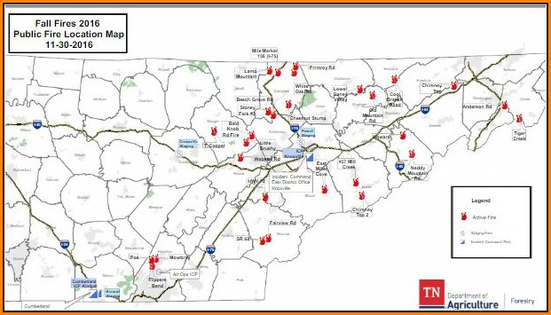 Gatlinburg Tennessee Fire Map