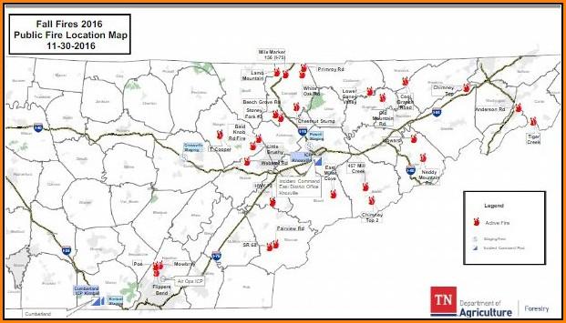 Gatlinburg Tennessee Fire Map