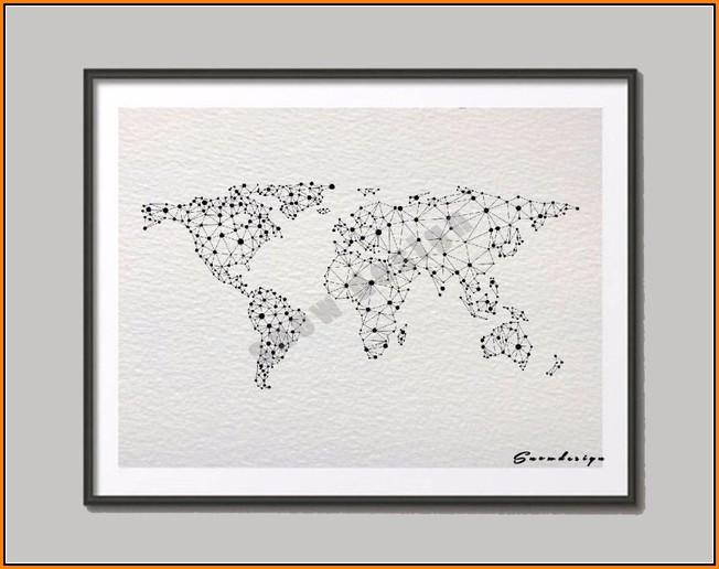 Geometric World Map Art