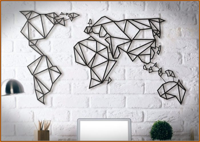 Geometric World Map Metal