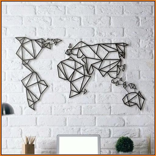 Geometric World Map Wall Art