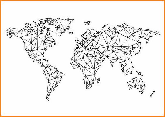 Geometric World Map Wallpaper