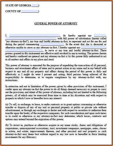 Georgia Power Of Attorney Form Pdf Form Resume Examples 1zv8n6k93x