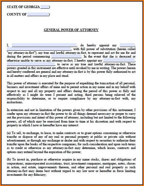 Georgia Power Of Attorney Form