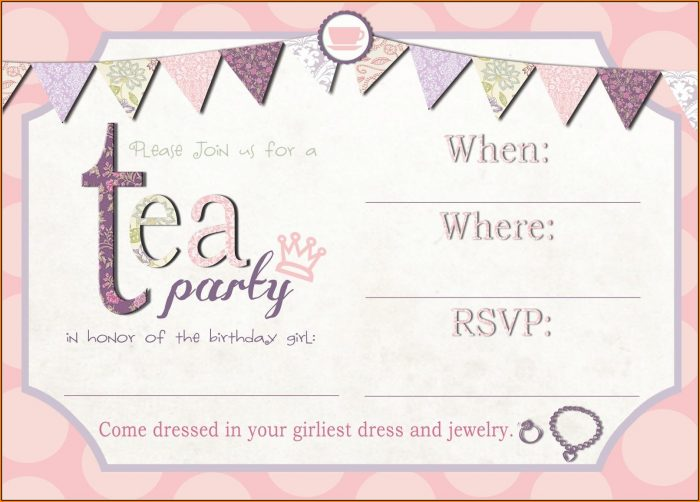 Girls Party Invitation Template