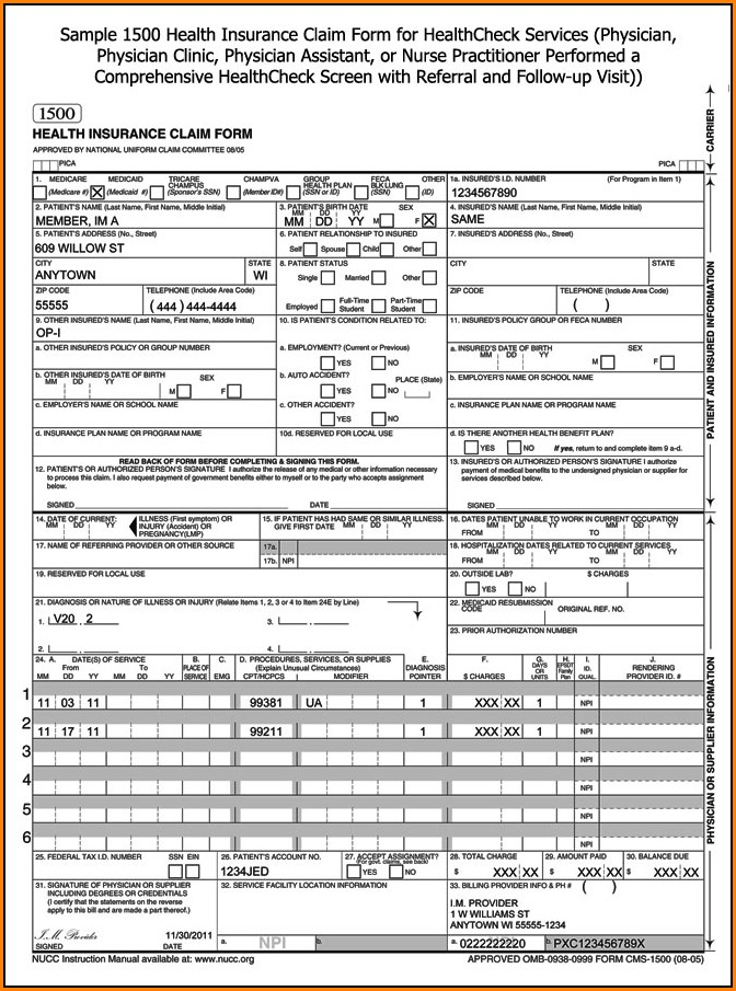 Health Insurance Claim Form 1500 Fillable