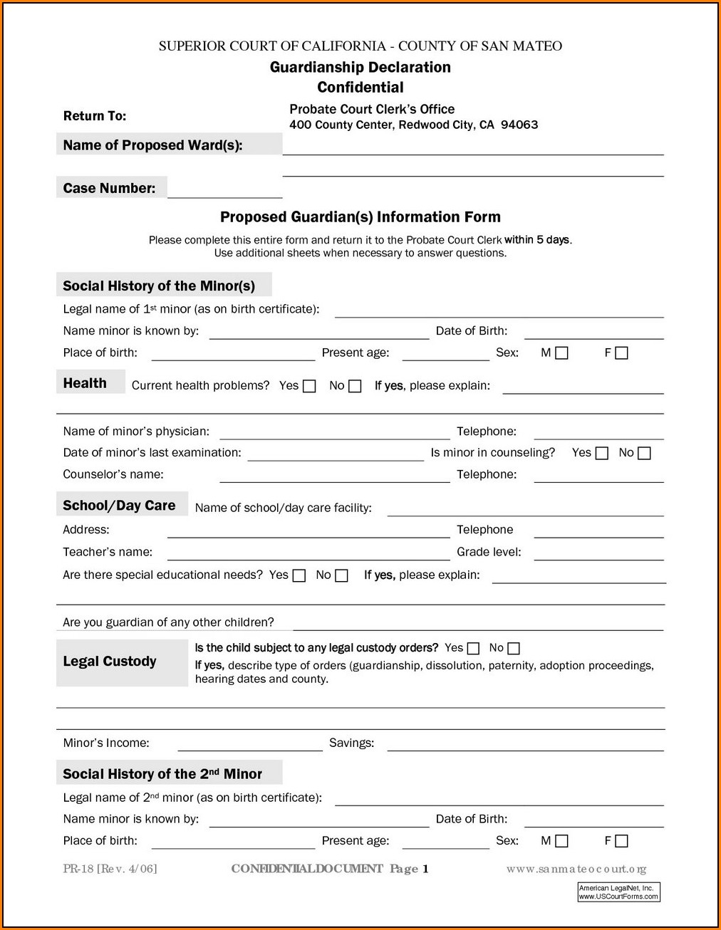 Indiana Temporary Guardianship Form