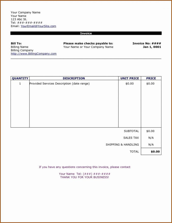Invoice Template Docx Uk