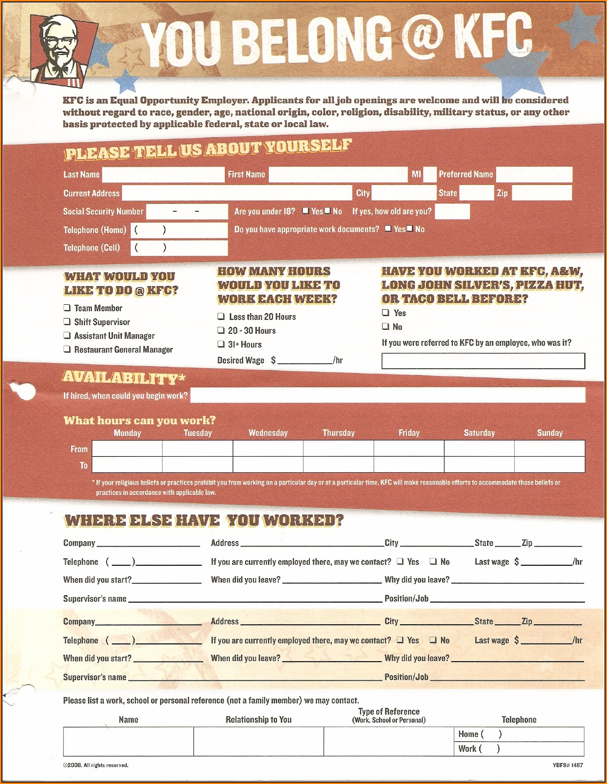 Job Application Form Kfc