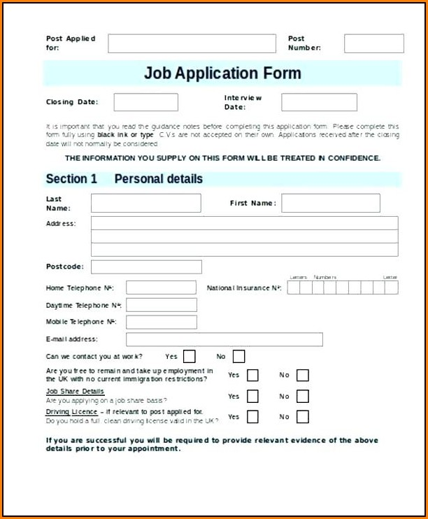 Job Application Form Template Free Nz