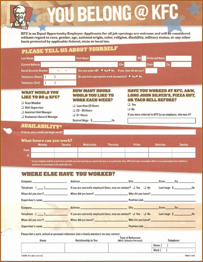Job Application Kfc Printable