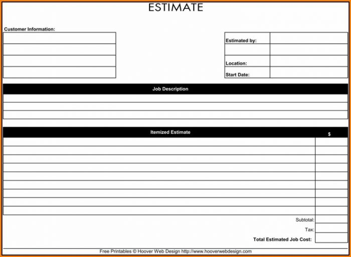Job Estimate Form Pdf
