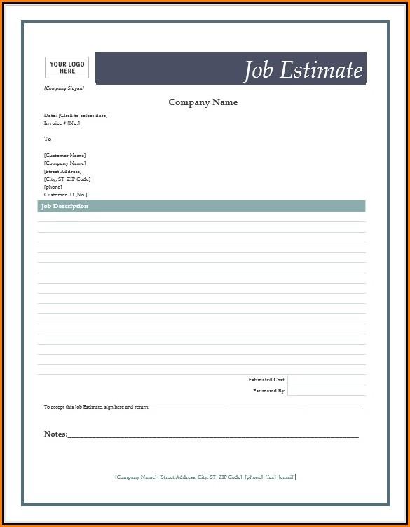 Job Estimate Forms Templates Free