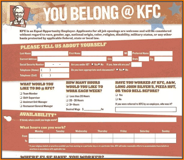 Kfc Job Application Online Form