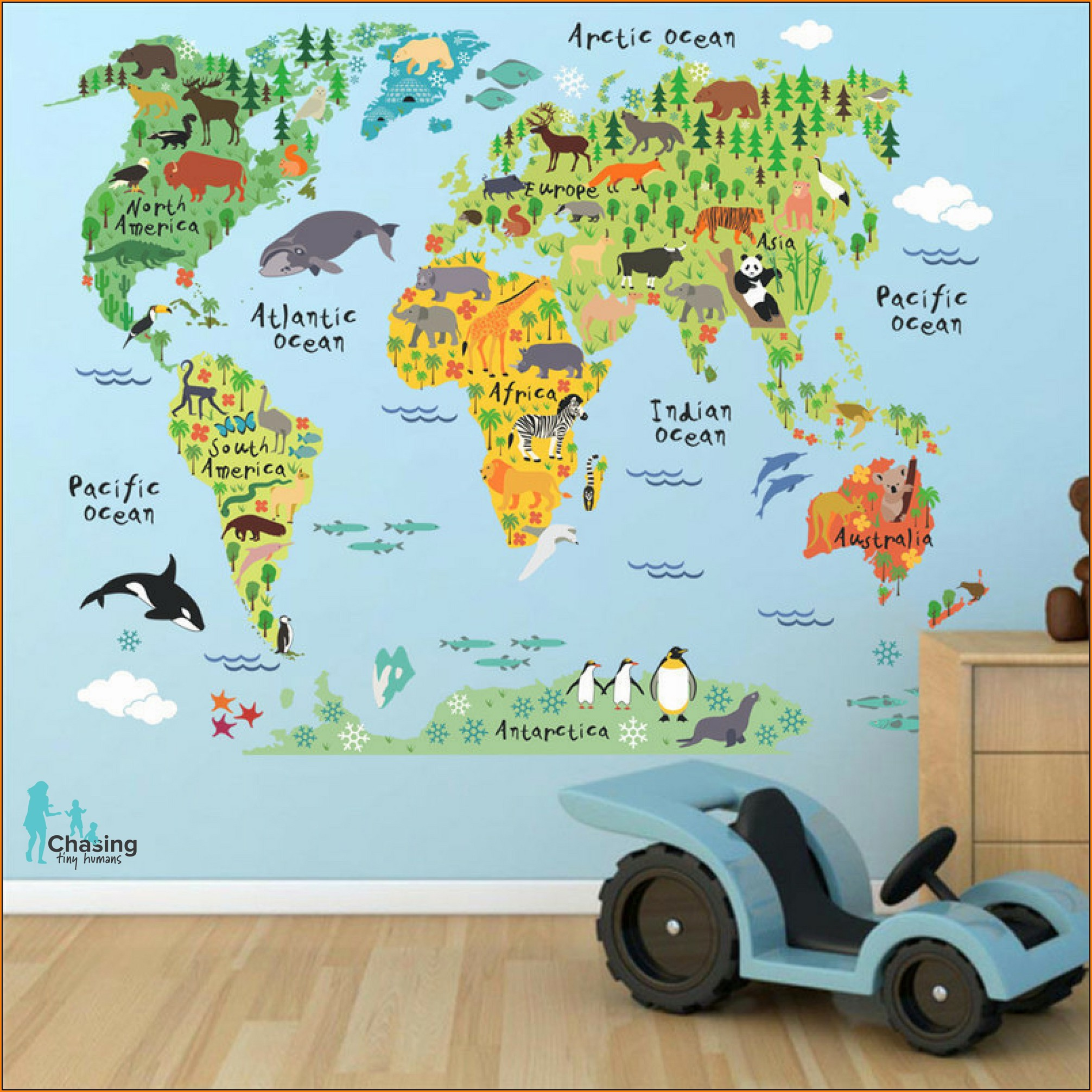 Kids World Map Decal