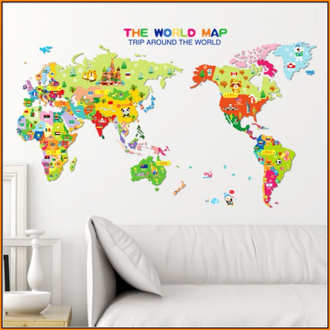 Kids World Map Wall Decal