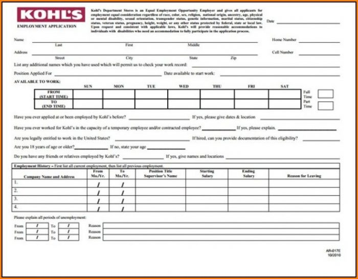 Kohls Com Job Application Form