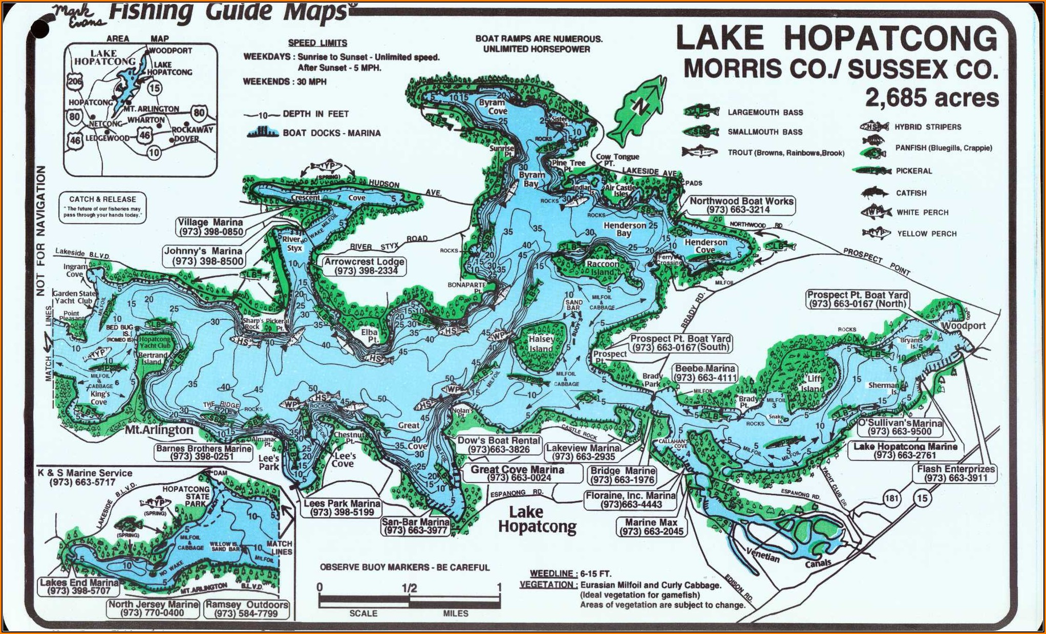 Lake Hopatcong Fishing Map