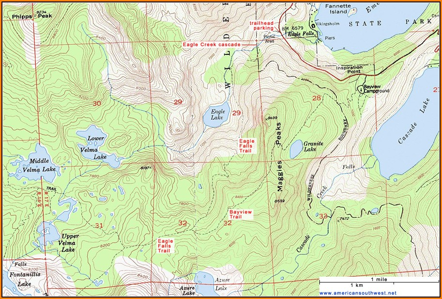 Lake Tahoe Topographic Map