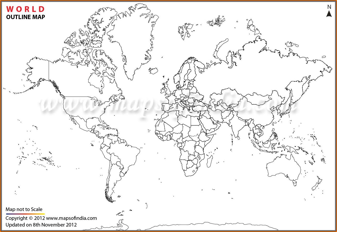 Large Printable World Map Outline