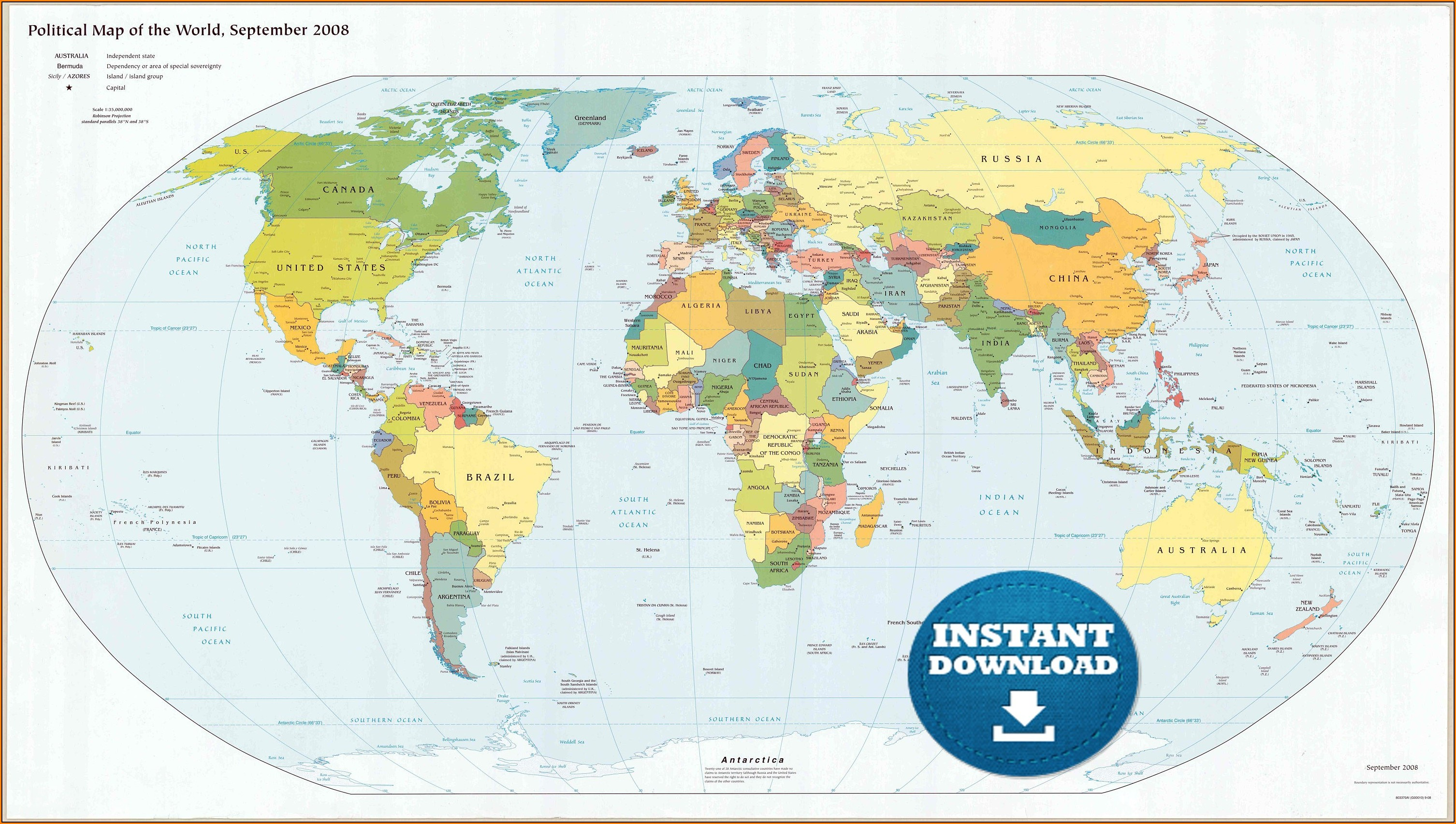 Large Printable World Map Poster