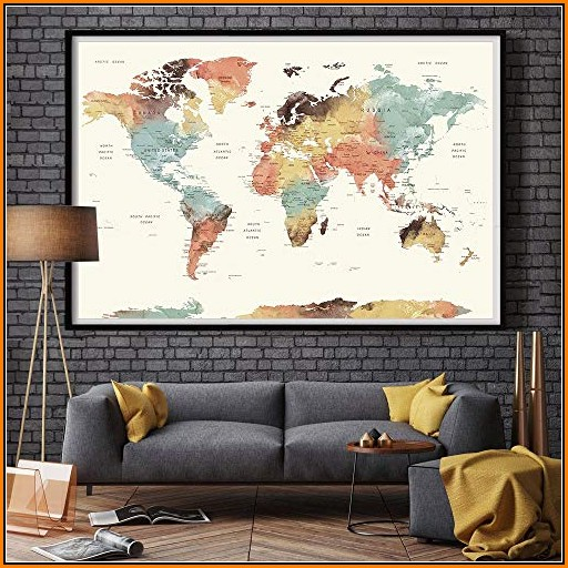 Large Push Pin World Map