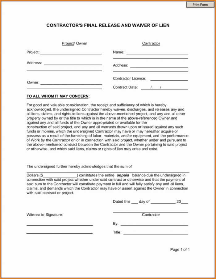 Lien Waiver Form Template