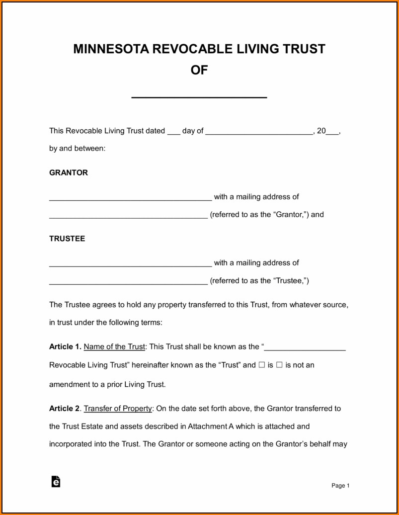 Living Revocable Trust Form Pdf