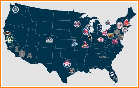 Major League Baseball Stadiums Map Poster