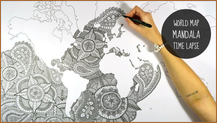 Mandala World Map Drawing