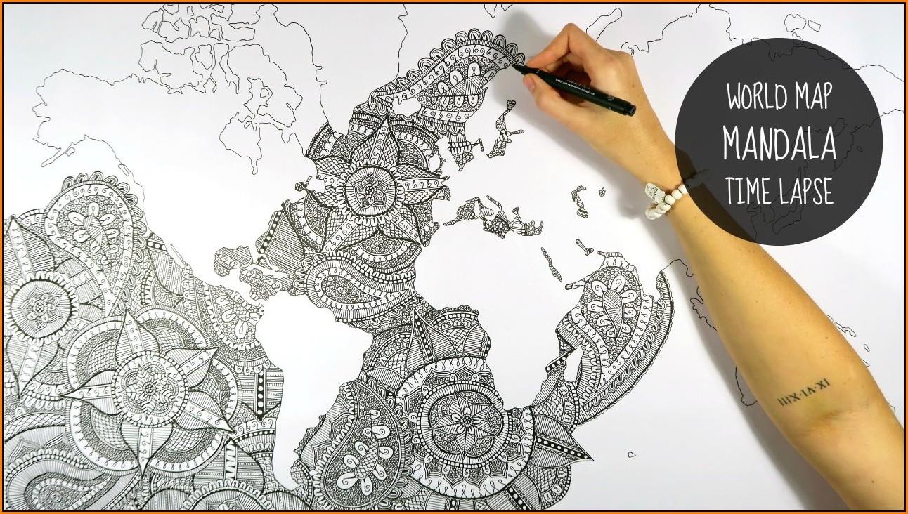Mandala World Map Drawing