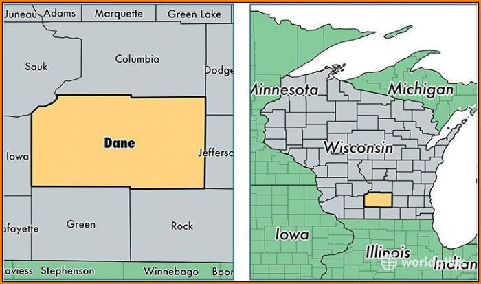Map Of Dane County Wisconsin