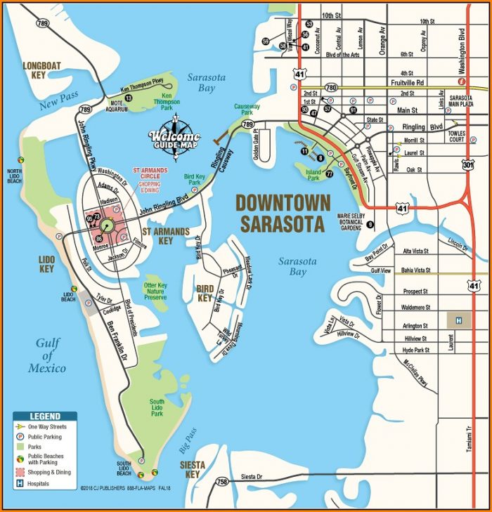 Map Of Downtown Sarasota Florida