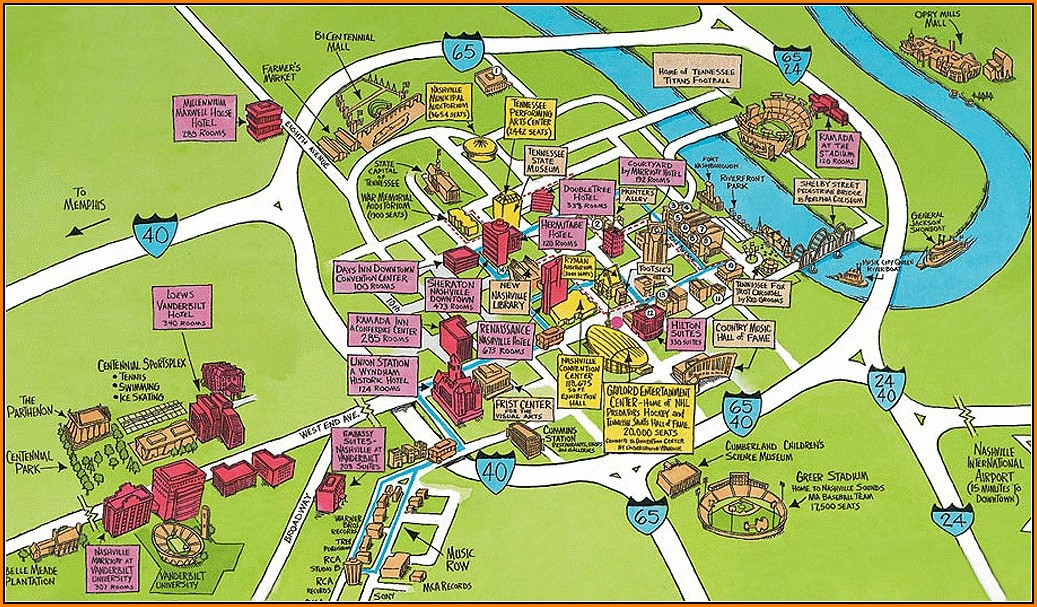 Map Of Hotels In Nashville Tn